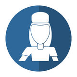 Avatar woman delivery working box and cap uniform shadow Stock Photo