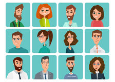 Avatar, woman, man heads. People vector shape heads different. Stock Photo
