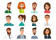 Avatar, woman, man heads. People vector shape heads different. Royalty Free Stock Photo