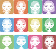 Avatar women color Stock Photography
