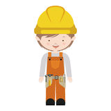 Avatar worker with toolkit and brown hair vector illustration Royalty Free Stock Image