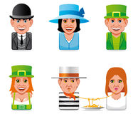 Avatar world people icons(english,irish,italian) Royalty Free Stock Photo