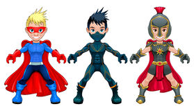 Avatar young superheroes and warriors Stock Photography