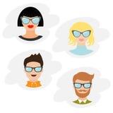 Avataraleute-Ikonensatz Nette Zeichentrickfilm-Figur Verschiedene Gesichtssammlung Mannfrauen, die Brillen tragen Männlich-weibli Lizenzfreie Stockfotos