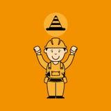 Avataramannbauarbeiter mit warnender Ikone des Kegels Lizenzfreies Stockfoto