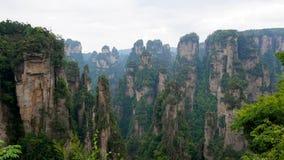 Avatarberg av Zhangjiajie Forest Park med stenpelare vaggar bildande lager videofilmer