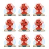 Avatares cabelludos grises de la expresión de la cara de la señora mayor stock de ilustración