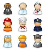 Avatares como diversas profesiones stock de ilustración