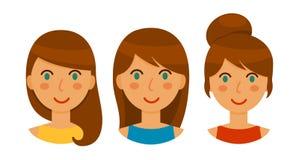 Avatares de mujeres morenas con diversos peinados fijados imagen de archivo