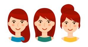 Avatares de mujeres morenas con diversos peinados fijados imagenes de archivo