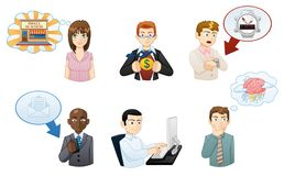 Avatares de trabajo de los iconos de la gente fijados ilustración del vector