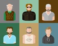 Avatares del hombre en un estilo plano Imágenes de archivo libres de regalías