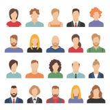 Avatares del negocio de la gente Avatares del equipo que trabajan diseño plano de la historieta de la oficina del retrato masculi ilustración del vector