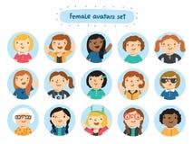 Avatares femeninos Foto de archivo