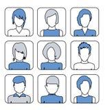 Avatares femeninos del usuario para la página del perfil Línea iconos planos Imagen de archivo libre de regalías