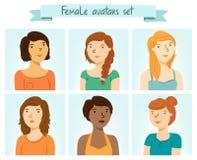 Avatares femeninos fijados Imagen de archivo libre de regalías