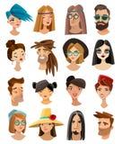Avatares fijados en estilo de la historieta stock de ilustración