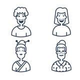 Avatares lindos Caracteres de diversas edades Línea iconos del vector del estilo Concepto del logotipo del movimiento para los gr Fotografía de archivo