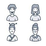 Avatares lindos Caracteres de diversas edades Línea iconos del vector del estilo Concepto del logotipo del movimiento para los gr Foto de archivo libre de regalías