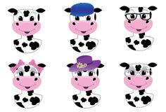 Avatares lindos de la vaca Imagenes de archivo