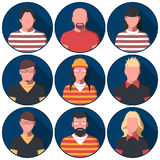 Avatares masculinos y femeninos de la gente en ropa casual Imagen de archivo libre de regalías