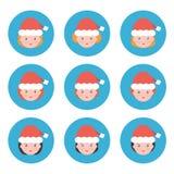 Avatares planos de la hembra de la Navidad del diseño Fotos de archivo