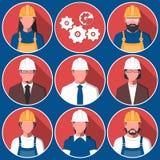 Avatares planos de los trabajadores de la ingeniería Fotografía de archivo