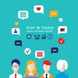 Avatares sociales de la gente del concepto de la red con las burbujas del discurso y los iconos del negocio para el web Imagen de archivo libre de regalías