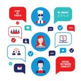 Avatares sociales de la gente del concepto de la red con las burbujas del discurso y los iconos del negocio para el web Fotografía de archivo libre de regalías