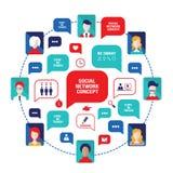 Avatares sociales de la gente del concepto de la red con las burbujas del discurso y los iconos del negocio para el web Fotos de archivo