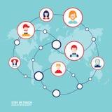 Avatares sociales de la gente del concepto de la red en fondo del mapa del mundo Imagen de archivo libre de regalías
