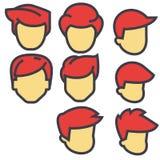 Avatares, usuarios masculinos, concepto rojo de los pelos Stock de ilustración