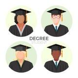 Avatares, varones y hembra anónimos del estudiante del grado en casquillos del birrete ilustración del vector