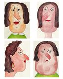 Avatars. Artistic work ink and watercolors on paper Stock Photo
