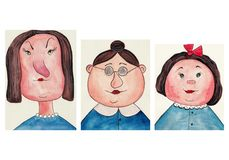 Avatars. Artistic work ink and watercolors on paper Stock Image