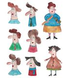 Avatars. Artistic work ink and watercolors on paper Royalty Free Stock Images