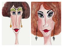 Avatars. Artwork, ink and watercolors on paper Royalty Free Stock Photography