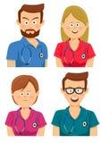 Avatars av unga sjukhusarbetare i mångfärgat skurar stock illustrationer