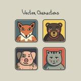 Avatars avec des visages des animaux Images libres de droits