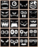 Avatars Black. Set of 20 avatars in black and white Royalty Free Illustration