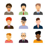 Avatars, business man flat icons set isolated on white backgroun Stock Photography