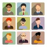 Avatars, business man flat icons set isolated on white backgroun Royalty Free Stock Image