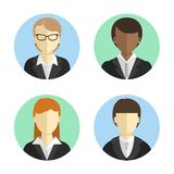 Avatars business women in costumes of different nationalities. Flat design