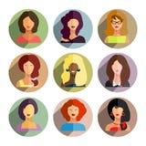 Avatars, business women flat icons set isolated on white backgro Stock Photo