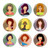Avatars, business women flat icons set isolated on white backgro Royalty Free Stock Image