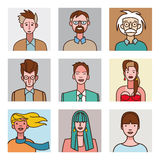 Avatars cômicos ajustados Foto de Stock Royalty Free