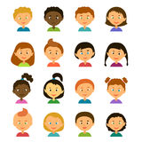 Avatars..Cartoon characters. Style flat. Avatars. Children.Girls and boys of different appearance and nationality.Cartoon characters. Style flat Royalty Free Stock Image
