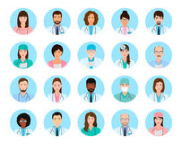 Avatars characters doctors and nurses set. Medical people icons of faces on a blue background. Flat style vector illustration royalty free illustration