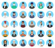 Avatars characters people of different occupation set. Professions persons icons of faces on a blue background. Royalty Free Stock Image