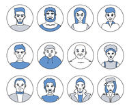 Avatars, characters people, men and women of different professions, flat vector line icons. Avatars, characters people, men and women of different professions Royalty Free Stock Image